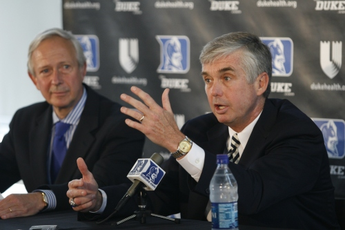 Kevin White (right) was introduced as Duke\'s seventh Director of Athletics in a Saturday press conference. (LAWSON KURTZ/THE CHRONICLE)