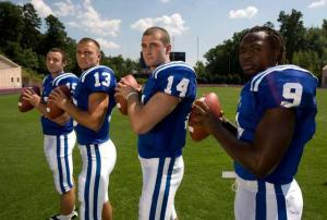 Thaddeus Lewis (9), Mike Cappetto (14), Zach Asack (13) and Sean Renfree (15) will kick off their 2008 campaigns when Duke opens football practice Monday morning.