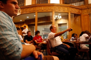 David Cutcliffe broke down game film for about 30 freshmen in the Marketplace Monday night. Photo by Lawson Kurtz / The Chronicle